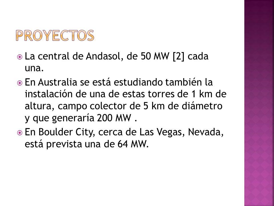PROYECTOS La central de Andasol, de 50 MW [2] cada una.